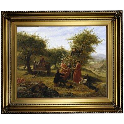 'Apple Gathering 1856' Framed Print on Canvas Format: Gold Frame, Size: 21.25