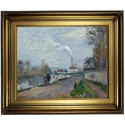 'The Oise Near Pontoise' Framed Oil Painting Print on Canvas in Gold Format: Light Gold Framed, Size: 22
