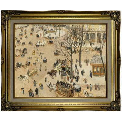'La Place due Theatre Francais 1898' by Camille Pissarro Framed Oil Painting Print on Canvas Format: Antique Gold Framed, Size: 21.25