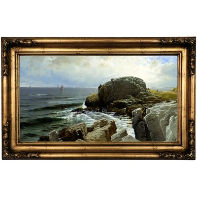 'Castle Rock, Marblehead 1878' Framed Oil Painting Print on Canvas Format: Black/Yellow Framed, Size: 16.5'' H x 26.5'' W x 1.75'' D