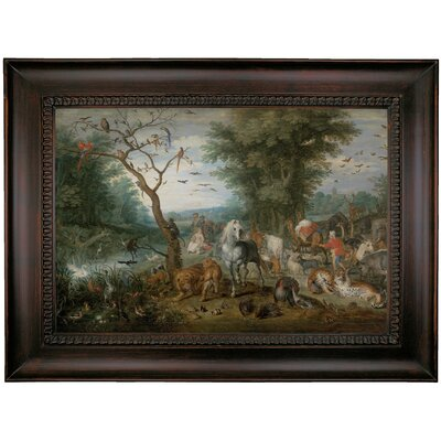 'Paradise Landscape with Animals 1613' Framed Oil Painting Print on Canvas Format: Charcoal Framed, Size: 26