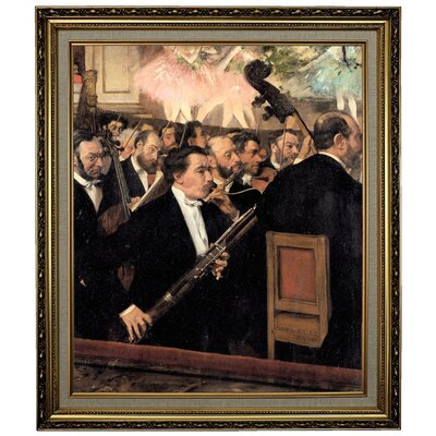 'The Orchestra at the Opera 1870' by Edgar Degas Framed Oil Painting Print on Canvas in Gold Format: Yellow Framed, Size: 28.15
