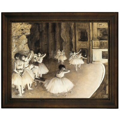 'Ballet Rehearsal on Stage 1874' by Edgar Degas Framed Print on Canvas Format: Brown Frame, Size: 13.75