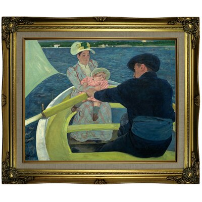 'The Boating Party' by Mary Cassatt Framed Oil Painting Print on Canvas Format: Brown/Gold Framed, Size: 21.25