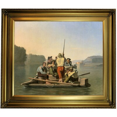 'Lighter Relieving a Steamboat Aground 1847' Framed Oil Painting Print on Canvas Format: Yellow Framed, Size: 26