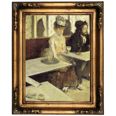 'In a Cafe 1873' by Edgar Degas Framed Oil Painting Print on Canvas Format: Old Gold Framed, Size: 20.5