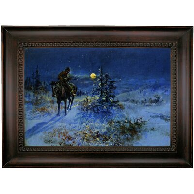 'Joshing Moon' Framed Oil Painting Print on Canvas Format: Brown Coffee Framed, Size: 26