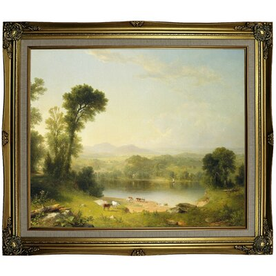 'Pastoral Landscape 1861' Framed Oil Painting Print on Canvas Format: Black Gold Framed, Size: 25.25