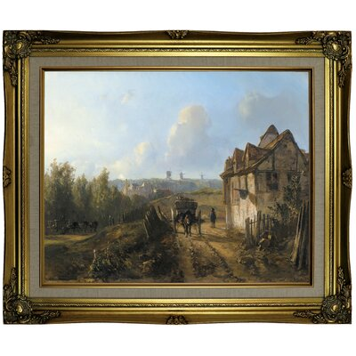 'Monmartre' Framed Oil Painting Print on Canvas Format: Gold Frame, Size: 21.25
