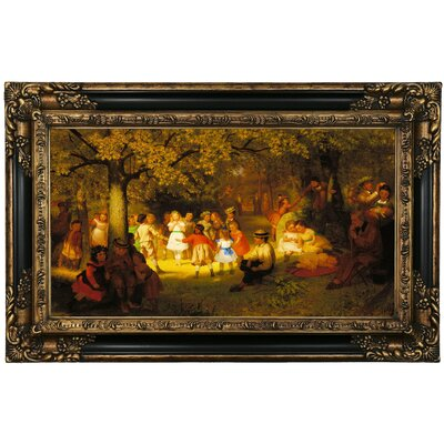 'Picnic Party' Framed Oil Painting Print on Canvas Format: Black Frame, Size: 26