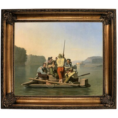 'Lighter Relieving a Steamboat Aground 1847' Framed Oil Painting Print on Canvas Format: Brown Framed, Size: 26.25