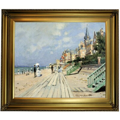 'Beach at Trouville' by Claude Monet Framed Print on Canvas Format: Gold Frame, Size: 26