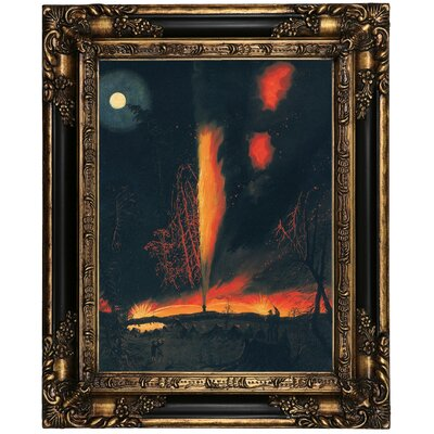 'Burning Oil Well at Nigght' Framed Oil Painting Print on Canvas in Black Frame Size: 21.25
