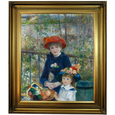 'Two Sisters (On the Terrace) 1881' by Pierre-Auguste Renoir Framed Oil Painting Print on Cavas Format: Gold Framed, Size: 30