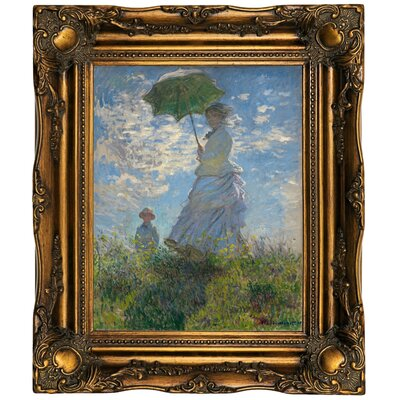 'On the Rock Cliff; Madame Monet and Her Son Jean' Framed Oil Painting Print on Canvas Format: Dark Gold Framed, Size: 19.5