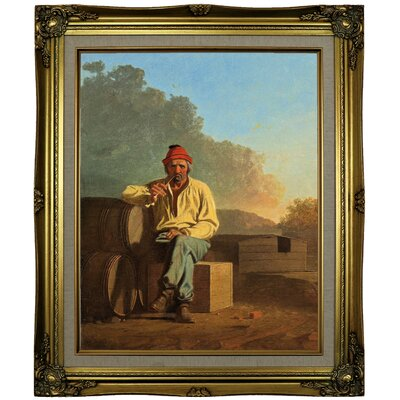 'Mississippi Boatman 1850' Framed Oil Painting Print on Canvas Format: Brown/Gold Framed, Size: 25.25