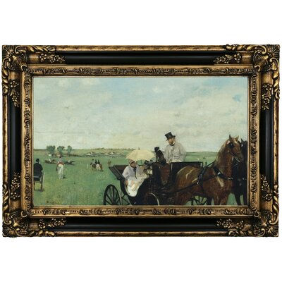 'At the Races in the Countryside 1869' by Edgar Degas Framed Print on Canvas Format: Black/Gold Frame, Size: 17.25
