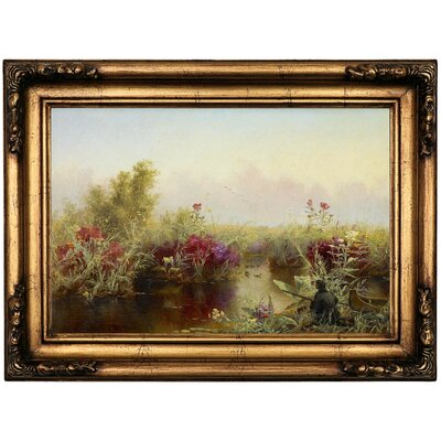 'Duck Hunting 1867' Framed Oil Painting Print on Canvas Format: Antique Gold Framed, Size: 16.5