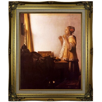 'Women with a Pearl Necklace' by Johannes Vermeer Framed Oil Painting Print on Canvas Format: Brown/Gold Framed, Size: 25.25