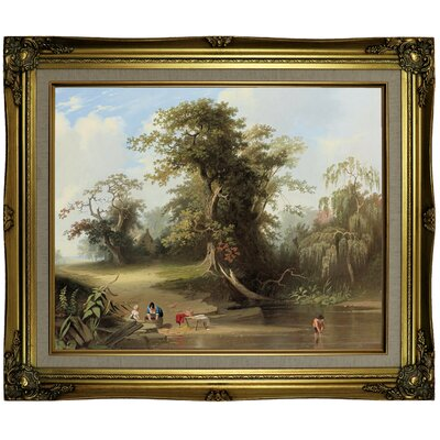 'Landscape - Rural Scene 1845' Framed Oil Painting Print on Canvas Format: Antique Gold Framed, Size: 21.25