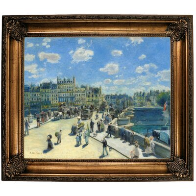 'Pont Neuf; Paris 1872' by Pierre-Auguste Renoir Framed Oil Painting Print on Canvas Format: Bronze Framed, Size: 26.25
