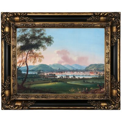 'Cincinnati From Behind Newport Barracks' Framed Oil Painting Print on Canvas Format: Brown Framed, Size: 17.25