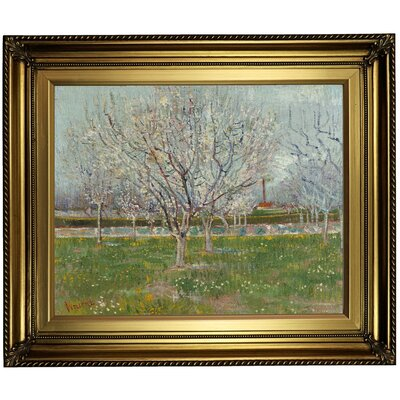 'Orchard in Blossom (Plum Trees) 1888' by Vincent van Gogh Framed Oil Painting Print on Canvas Format: Light Gold Framed, Size: 22