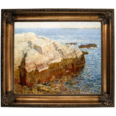 'Cliff Rock Appledore 1903' Framed Oil Painting Print on Canvas Format: Dark Gold Framed, Size: 26.25'' H x 30.25'' W x 2.75'' D