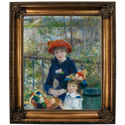'Two Sisters (On the Terrace) 1881' by Pierre-Auguste Renoir Framed Oil Painting Print on Cavas Format: Bronze Framed, Size: 30.25