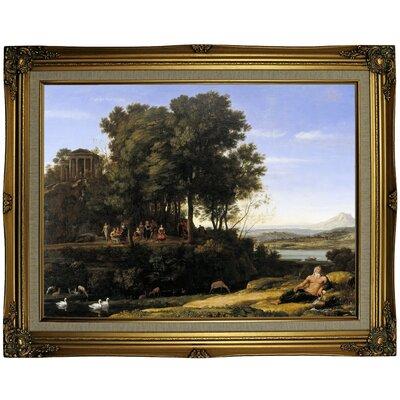'Landscape with Apollo and the Muses 1652' Framed Oil Painting Print on Canvas Format: Gray/Gold Framed, Size: 23.25