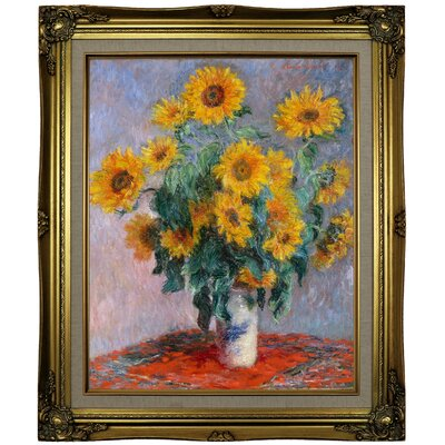'Sunflowers' by Claude Monet Framed Oil Painting Print on Canvas Format: Brown/Gold Framed, Size: 25.25