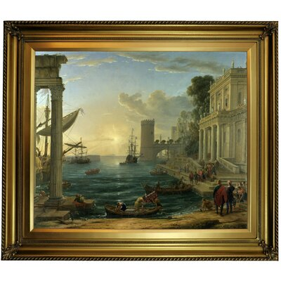 'Seaport with the Embarkation of the Queen of Sheba' Framed Oil Painting Print on Canvas Format: Gold Framed, Size: 26