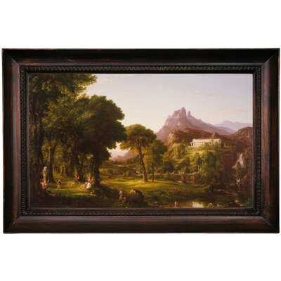 'Dream of Arcadia 1838' Framed Oil Painting Print on Canvas Format: Dark Gray Framed, Size: 15.5