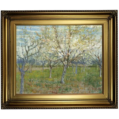 'The Pink Orchard 1888' by Vincent Van Gogh Framed Oil Painting Print on Canvas in Gold Format: Light Gold Framed, Size: 22