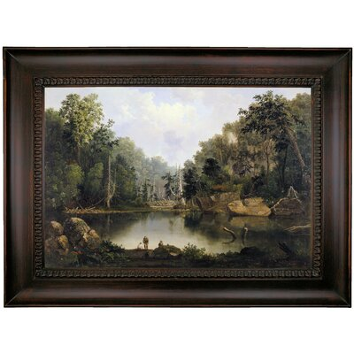 'Blue Hole, Flood Waters, Little Miami River' Framed Oil Painting Print on Canvas Format: Chocolate Framed, Size: 26'' H x 35'' W x 1.75'' D