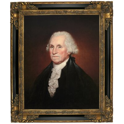 'George Washington 1795' Framed Oil Painting Print on Canvas Format: Black/Gold Framed, Size: 25.25