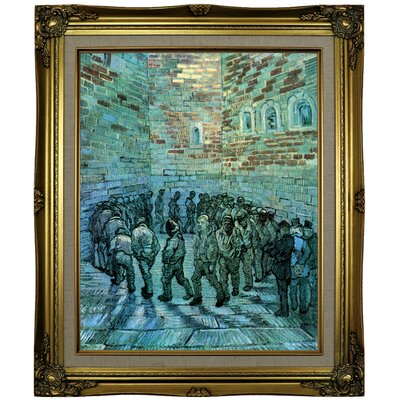 'Prisoners Exercising after Dore' by Vincent van Gogh  Framed Oil Painting Print on Canvas Format: Brown/Gold Framed, Size: 25.25