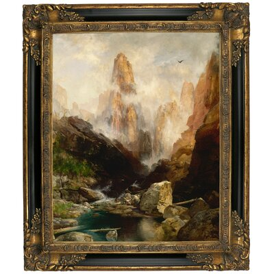 'Mist in Kanab Canyon, Utah' Framed Oil Painting Print on Canvas Format: Black/Gold Framed, Size: 25.25