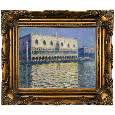'The Doges Palace 1908' by Claude Monet Framed Oil Painting Print on Canvas Format: Dark Gold Framed, Size: 16.5