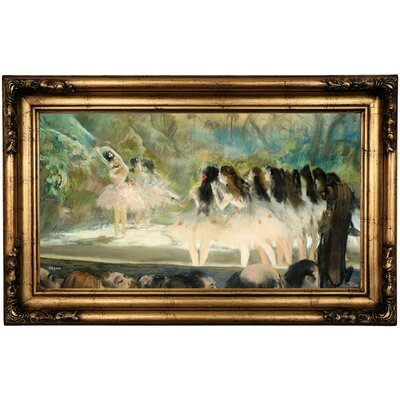 'Ballet at the Paris Opera 1877' by Edgar Degas Framed Print on Canvas Format: Gold/Bronze Frame, Size: 16.5
