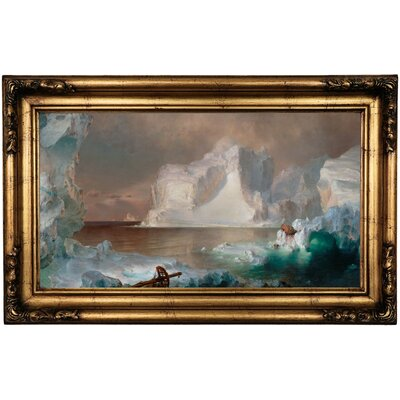 'The Icebergs' Framed Oil Painting Print on Canvas in Gold Format: Antique Gold Framed, Size: 16.5