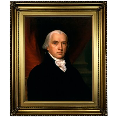 'James Madison' Framed Oil Painting Print on Canvas Format: Gold Frame, Size: 26