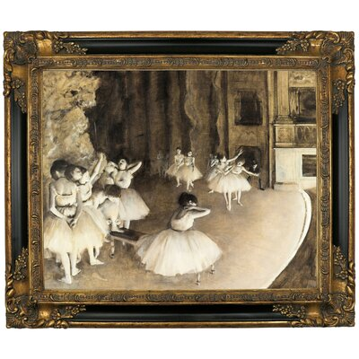 'Ballet Rehearsal on Stage 1874' by Edgar Degas Framed Print on Canvas Format: Black/Gold Frame, Size: 21.25