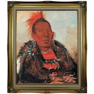 'Wah-ro-noe-sah, the Surrounder, Chief of the Tribe 1832' Framed Oil Painting Print on Canvas Format: Coral Framed, Size: 29.25'' H x 25.25'' W x 1.5'' D