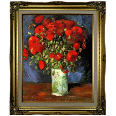'Vase with Red Poppies' by Vincent van Gogh Framed Oil Painting Print on Cavas Format: Brown/Gold Framed, Size: 25.25