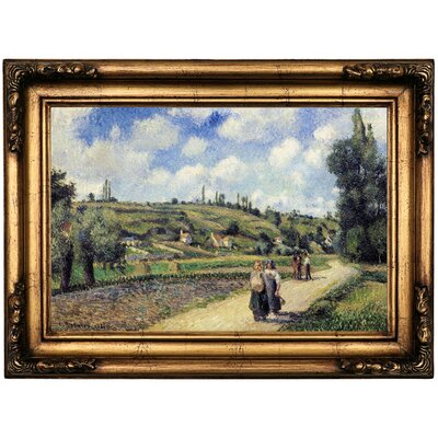 'Landscape near Pontoise the Auvers Road 1881' by Camille Pissarro Framed Oil Painting Print on Canvas Format: Bronze Framed, Size: 16.5
