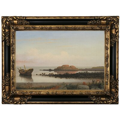 'Braces Rock, Eastern Point 1864' Framed Oil Painting Print on Canvas Format: Black/Gold Framed, Size: 17.25'' H x 23.25'' W x 1.5'' D