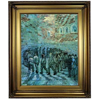 'Prisoners Exercising after Dore' by Vincent van Gogh  Framed Oil Painting Print on Canvas Format: Light Gold Framed, Size: 26