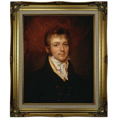 'Portrait of Edward Shippen Burd of Philadelphia 1806' Framed Oil Painting Print on Canvas Format: Brown/Gold Framed, Size: 25.25