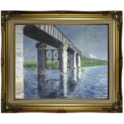 'The Seine and the Railroad Bridge at Argenteuil (La Seine et le pont du chemin de fer dArgenteuil)' Framed Oil Painting Print on Canvas in Gold Format: Brown/Gold Framed, Size: 21.25